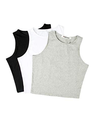 PERSUN Women's Sleeveless Basic Crop Tank Top (Small, Black+White+Grey)