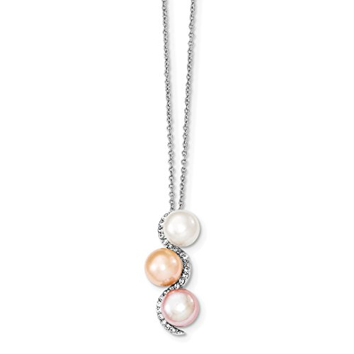 925 Sterling Silver 9mm Multicolor Freshwater Cultured Pearl Cubic Zirconia Cz Chain Necklace Pendant Charm Fine Jewelry For Women Gift Set