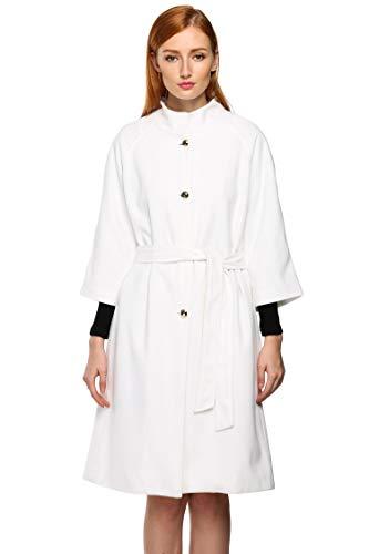 ACEVOG Women Lapel Single Breasted Thick Wool Trench Coat Jacket Windbreaker (L, White)