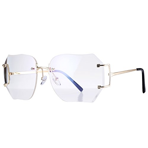 Pro Acme Fashion Oversized Rimless Sunglasses Women Clear Lens Available - Glasses Square Clear