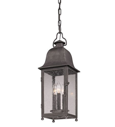 (Outdoor Pendant 3 Light with Aged Pewter Finish Hand-Forged Iron Material Candelabra 8 inch Wide 180 Watts)