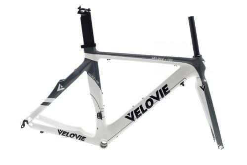 VeloVie Veloce 100 Carbon Axis Triathlon/TT Bicycle Frame and Fork Set, Grey/White, 54cm/Medium