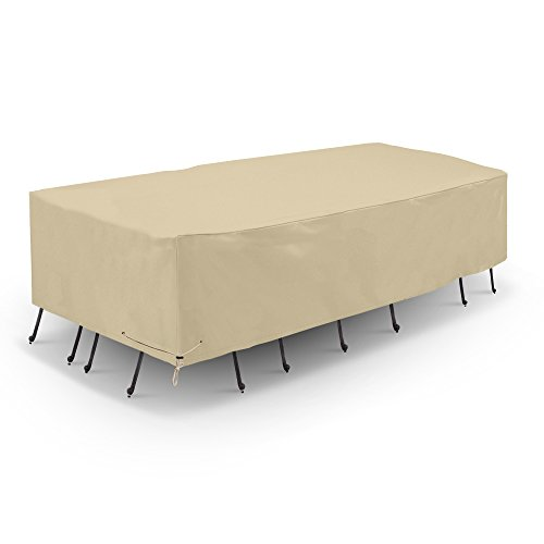 SunPatio Outdoor Waterproof Table and Chair Cover Heavy Duty Patio Furniture Set Cover Veranda Rectangular Dining Table Set Cover 90#039#039L x 60#039#039W x 30#039#039H All Weather Protection Beige