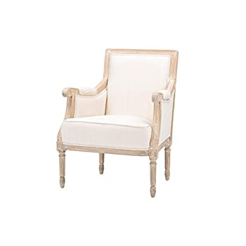 Baxton Studio Chavanon Wood Linen Traditional French Accent Chair, Light Beige