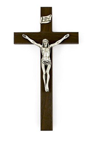 - Walnut Wood Shroud of Turin Crucifix with Pewter Christ Corpus, 8 Inch