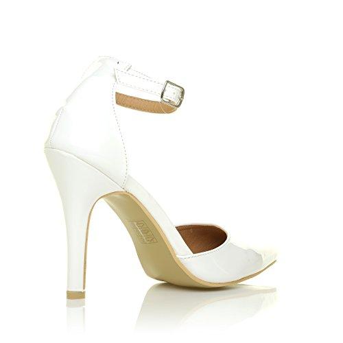 NEW YORK Weiß Patent Knöchelriemen Spitz High Heel Pumps