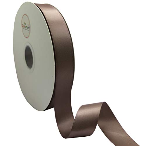 PartyMart 1 Inch Wide Polyester Double-Face Satin Ribbon, 100 Yards, Chocolate Chip