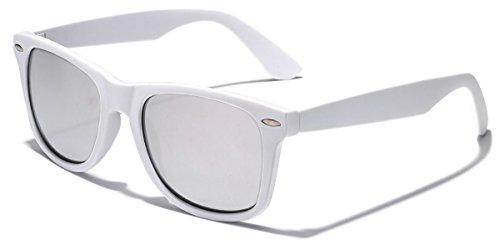 Colorful Retro Fashion Wayfarer Sunglasses - Rubber Frame with Color Mirror Lens - - White Lens Sunglasses