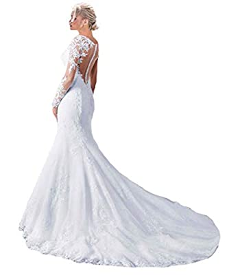 Fashionbride Women's See Through Back Long Sleeve Mermaid Wedding Dress 2019 Bridal Gowns