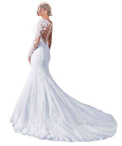 - Fashionbride Women's See Through Back Long Sleeve Mermaid Wedding Dress 2019 Bridal Gowns Ivory-US18W