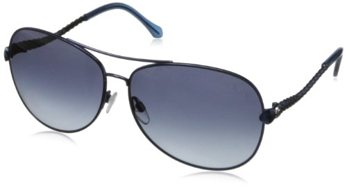 (Roberto Cavalli Women's RC792S6290W Aviator Sunglasses,Shiny Blue,62 mm)