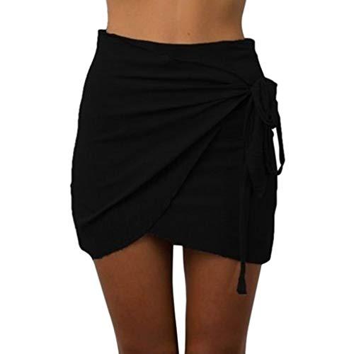 (NRUTUP Summer Women Fashion Casual Solid Color Classic Dress Waist Short Beach Elegant Mini Skirt)