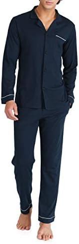 DAVID ARCHY Men's 100% Cotton Long Button-Down Sleepwear Pajama
