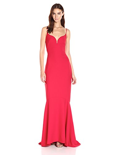 Nicole Miller Women's Techy Crepe V Bar Gown, Lipstick Red/Lure, 8