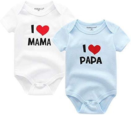 LIXIUQING Jumpsuit Baumwolle kurzärmelig Ich Liebe Bedruckte Anzüge für Mama und Papa Anzüge für Männer und Kinder