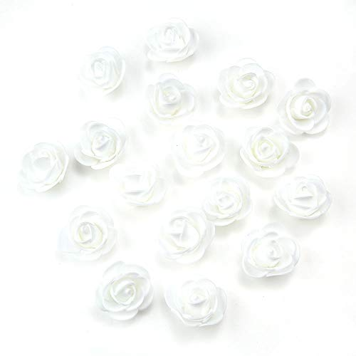 Daisy Rose Corsage - Fake Flower 50 pcs PE Foam Roses Head Artificial Flowers Wedding Decoration DIY Party Festival Home Decor Scrapbooking Gift Box DIY Wreath (White)