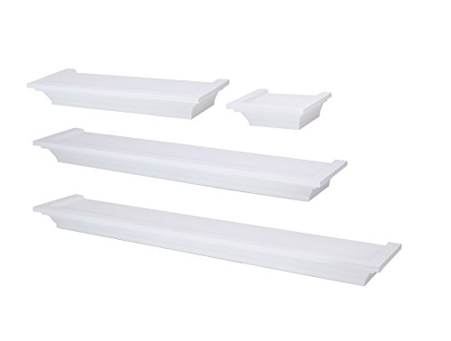 nexxt Classic Set of 4 Multilength Floating Ledge Shelves, White