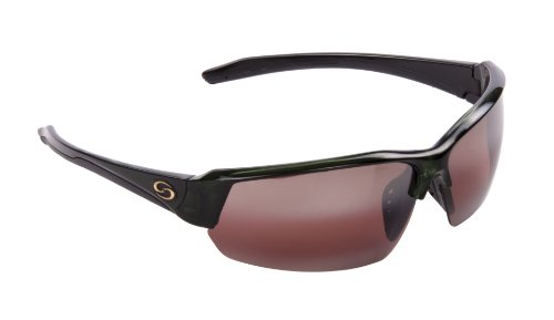 Strike King S11 Optics Semi Rimless Polarized Sunglasses ( Clear Green Silver Metallic-Black Two Tone - Angler Sunglasses