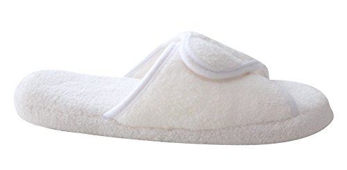 Women on Wrap Slippers White Slippers Slip Luxury for Spa ProFoot Adjustable Foam Hotel Plush Memory 1Xwq6xd