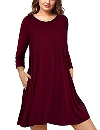 AMZ PLUS Womens Plus Size Long Sleeve Casual Swing Tunic Dress with Pockets Wine Red XL