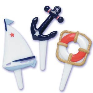 (Oasis Supply Nautical Sea Cupcake/Cake Decorating Picks, 2-Inch, Assorted, Set of)