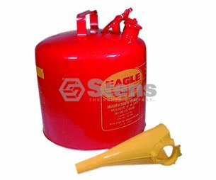 Stens 765-188 Red Metal Safety Fuel Can, 5 gal with Funnel, 24-Gauge hot Dipped Galvanized - Metal Red Gallon 5