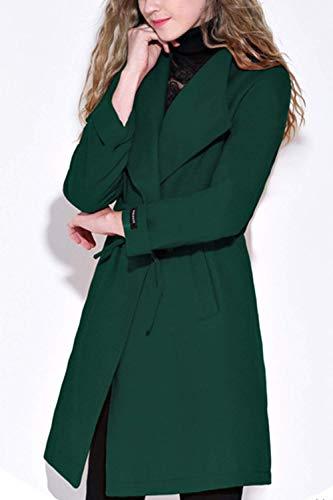 Costume Automne Uni Serrage Manches D'Extrieur lgant Legere De Manteau Grande Coat Manche Loisir Printemps Taille Long Vert Femme De Cordon Outwear Transition Vtements XOgnw6qf
