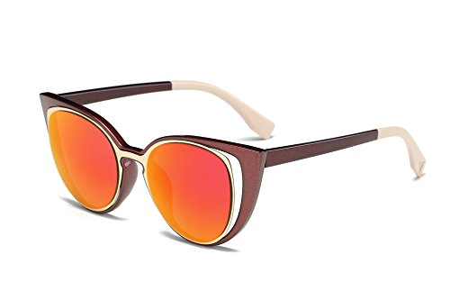 Amomoma Cat Eye Sunglasses Women Brand Designer Retro Pierced Female AM2015 Brown Frame/Orange - Brands Designer Top 50