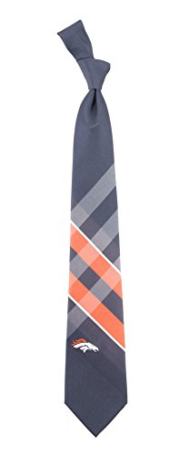 Eagles Wings NFL Denver Broncos Men's Woven Polyester Grid Necktie, One Size, Multicolor