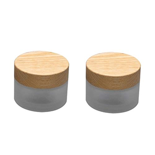 2PCS Frosted Glass Cosmetic Pots Empty Eyeshadow Essential Oil Sample Jars Vials Face Cream Jar Container Lip Balm Storage Bottle With Bamboo Lids and Inner Liners (50g)