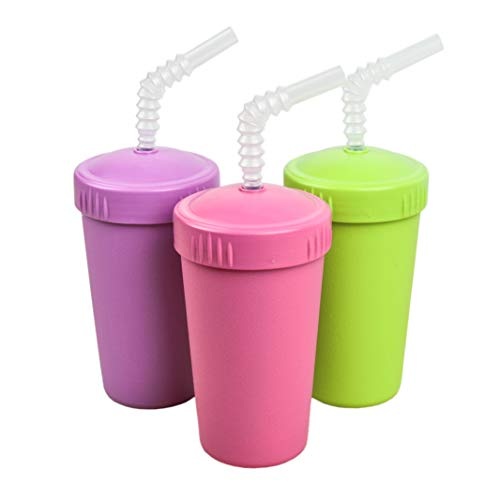 Re-Play Made in USA 3pk Straw Cups with Reversable Straw for Easy Baby, Toddler, Child Feeding - Purple, Lime, Bright Pink (Butterfly)