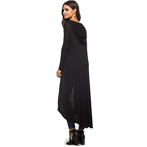 ESAILQ Otoño de moda de las mujeres de gran tamaño de la capa de manga larga chaqueta con capucha negro