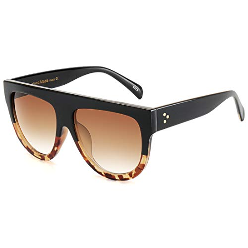 ROYAL GIRL Flat Top Sunglasses For Women Trendy Oversized Goggles Vintage Shades(black leopard ()
