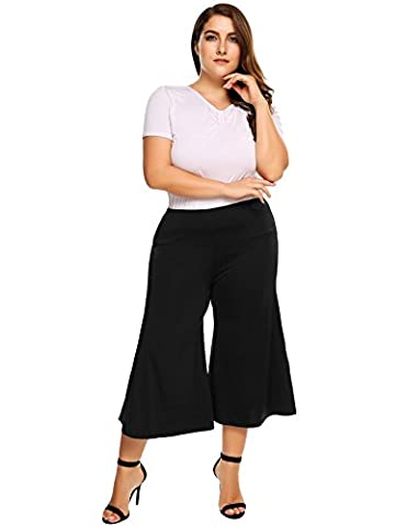Womens Plus Size Flared Wide Leg Capri Palazzo Pants - Ladies Knit Fold Over Waist Flowy Culottes Pants Beach Bottoms Casual Trousers