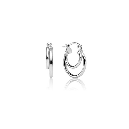 - LOVVE Sterling Silver High Polished 15mm Double Circle Round Click-Top Hoop Earrings