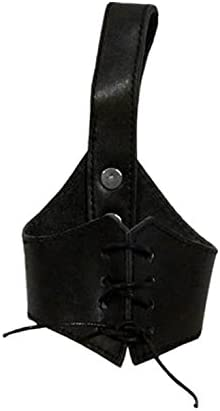 AleHorn Medieval Viking Belt Attachment Genuine Leather Holster Hanger for 12 Drinking Horns Handcrafted Accessory