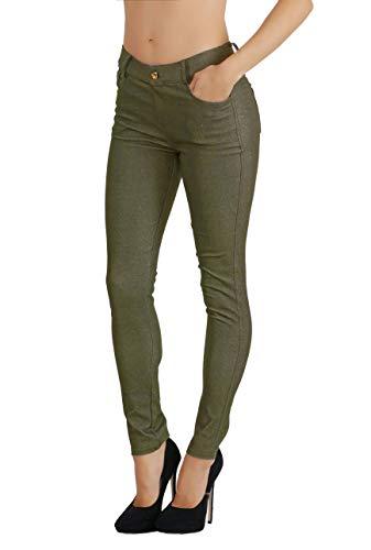 Fit Division Women's Jean Look Cotton Blend Jeggings Tights Slimming Full Lenght Capri Bermuda Shorts Leggings Pants S-3XL (L US Size 10-12, FDJN827-AMG)