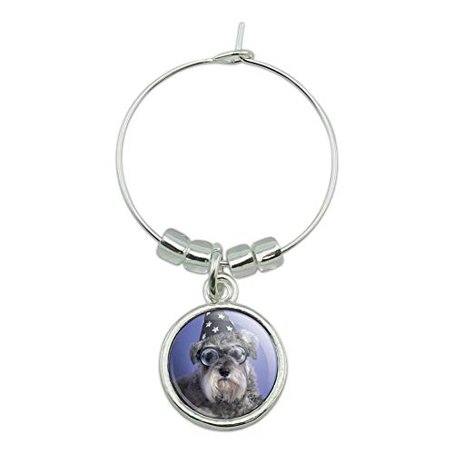 (Schnauzer Puppy Dog Wizard Glasses Spell Book Wine Glass Charm Drink Marker)