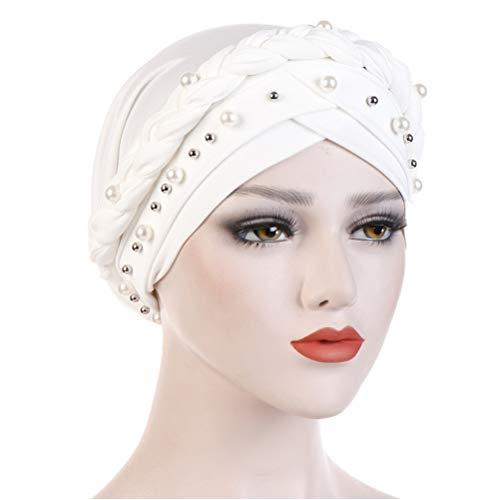 - Fxhixiy Women Hijab Beading Pearl Braid Turban Hat Head Scarf Cancer Chemo Beanies Bandana Headwrap Cap (White)