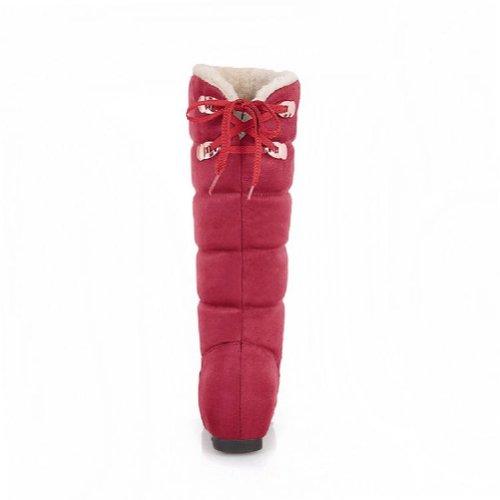 Charm Foot Fashion Womens Low Heel High Top Snow Boots Winter Boots Dark Red iXLZdmKnrr