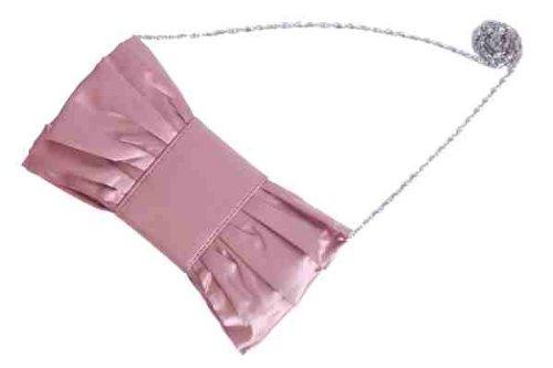 Rose rosa satin clutch tasche mit riese schleife und sammelt by Olga Berg