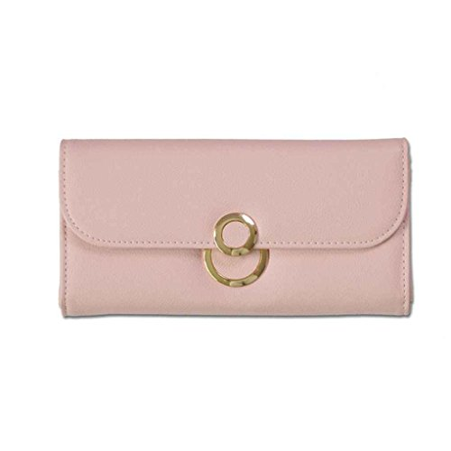 M-Egal Simple Long Clutch Wallet with Solid Color Multifunction PU Leather Wallets for Women light pink 19.2103cm