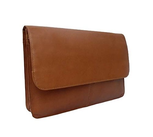 Leather Portfolio w Large Zip Divider in Saddle by Piel Leather