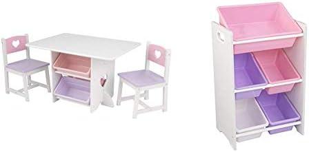 KidKraft Heart Table and Chair Set Storage Multi Bin