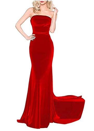 tutu.vivi Women's Strapless Velvet Mermaid Prom Dresses Long Evening Formal Gowns with Train Red Size20W