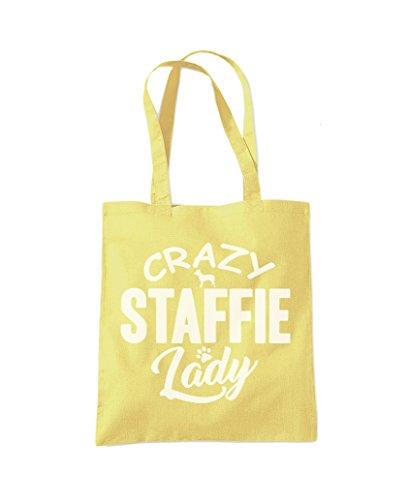 Crazy Staffie Lady - Tote Shopper Fashion Bag Lemon Yellow