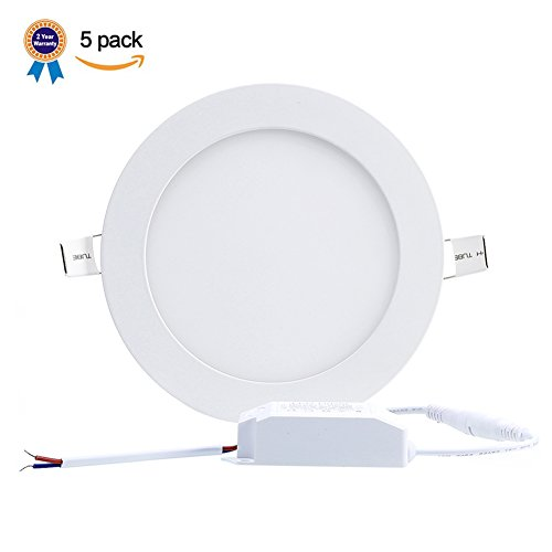 B-right Pack of 5 Units 15W 7-inch Ultra-thin Round LED Recessed Panel Light, 1100lm, 100W Incandescent Equivalent, 3000K Warm White, LED Recessed Ceiling Lights for Home, Office, Commercial Lighting
