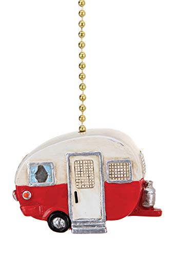 Red Ceiling Fan Pull - Red and White Happy Camper Ceiling Fan Light Dimensional Pull