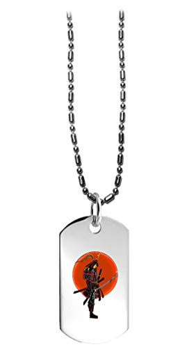 Hat Shark Japanese Warrior Samurai w/Bloody Sword - 3D Color Printed Military Dog Tag, Luggage Tag Pendant Metal Chain -