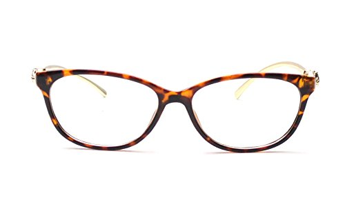 Caixia Women's SJT-9188 Plastic Frame Cobra Accent Cateye Glasses Small Size (leopard, - Bans Ray Cheap Glasses Prescription